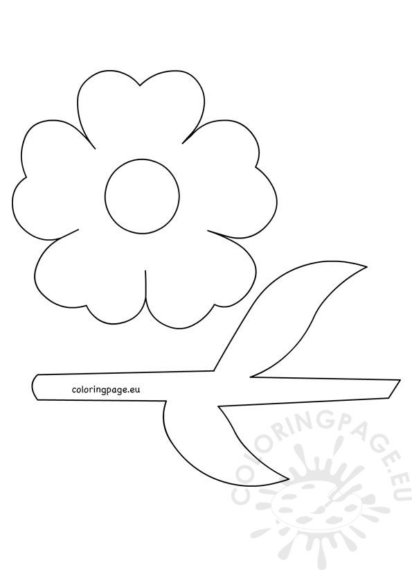 Flower With Stem And Leaves Template  Coloring Page