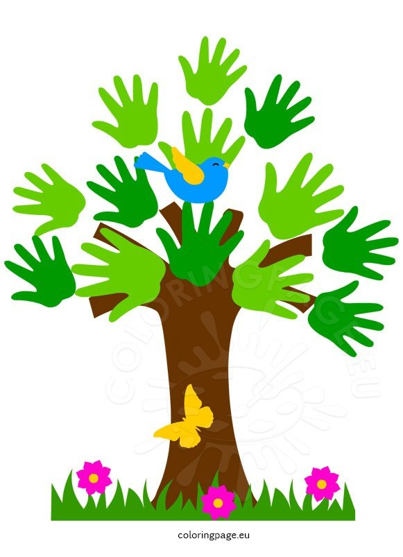 Bird On The Tree Clipart Coloring Page