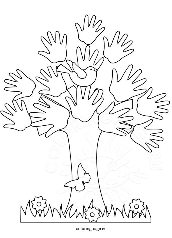 Hand Tree coloring page for kid