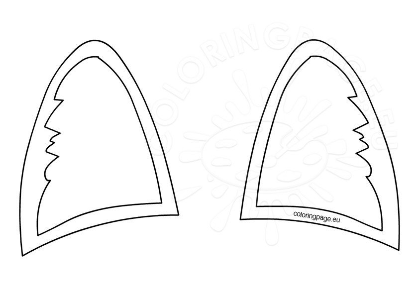 Dog Ear Template | Cat Ears Template Coloring Page