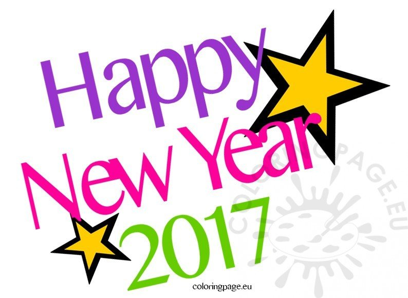 Happy new year 2017 Clipart | Coloring Page