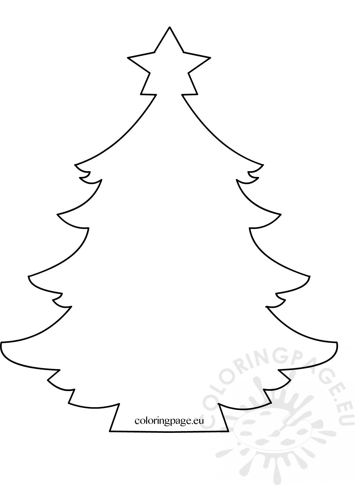 Christmas tree with star template - Coloring Page