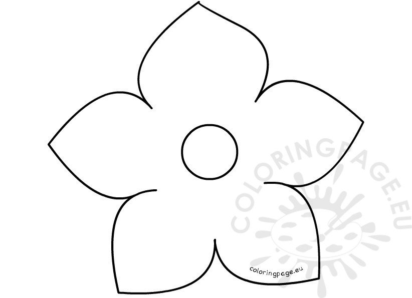 Printable Five Petal Flower Template  Coloring Page