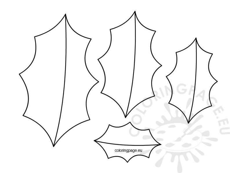 holly leaf coloring pages | Holly leaf template christmas – Coloring Page