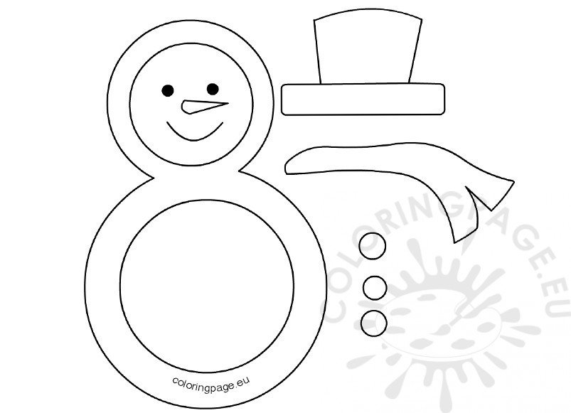 Snowman Black And White Template  Coloring Page