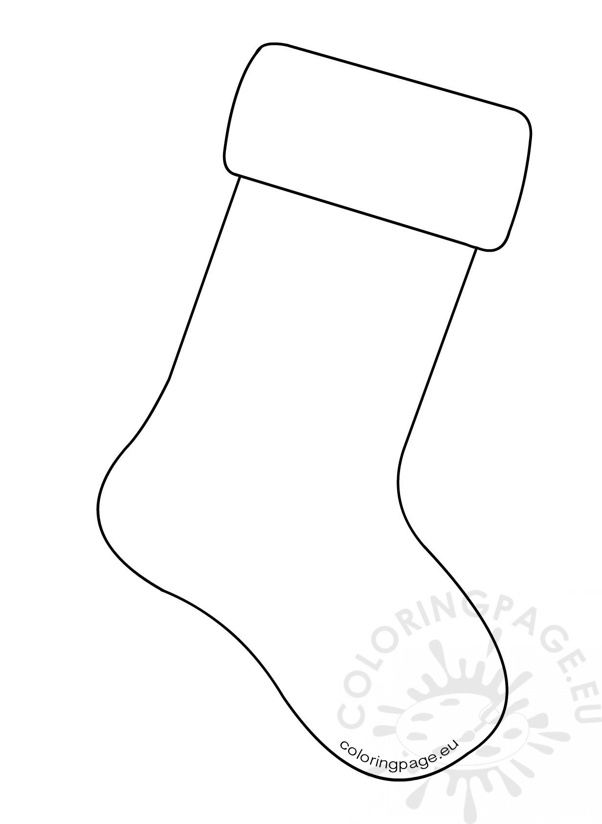 large stocking template  Christmas Stocking Template Large – Coloring Page