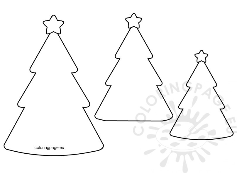 Christmas Tree Shape Template - Coloring Page