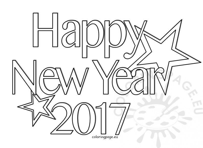 happy new year coloring page 2017 coloring page