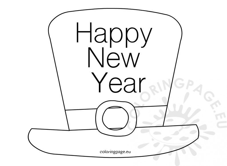 happy new year hat coloring for kids  u2013 coloring page