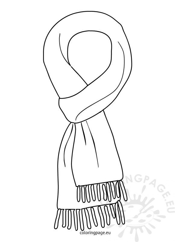 winter scarf black and white  u2013 coloring page