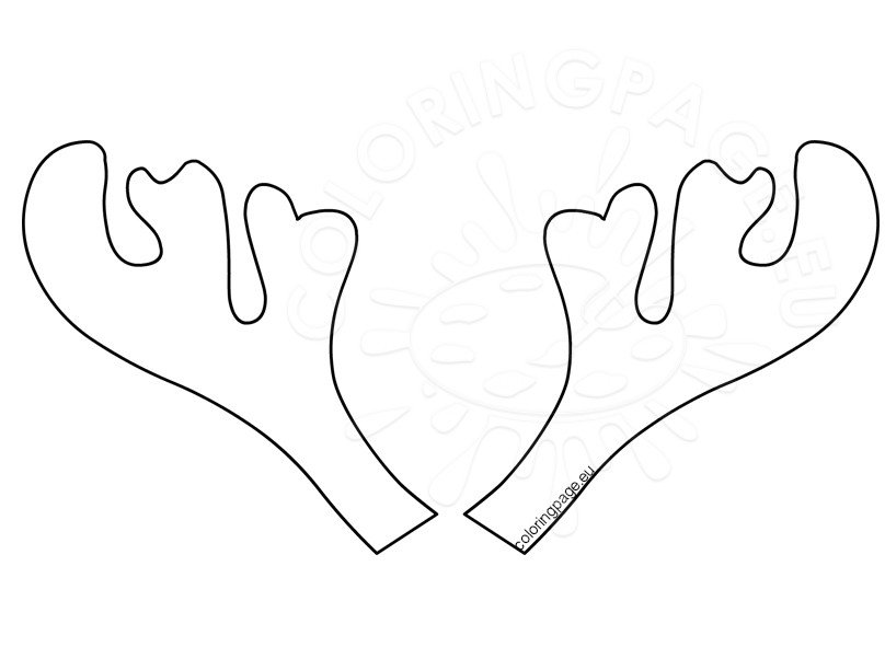 Printable reindeer antlers pattern coloring page for Reindeer cut out template