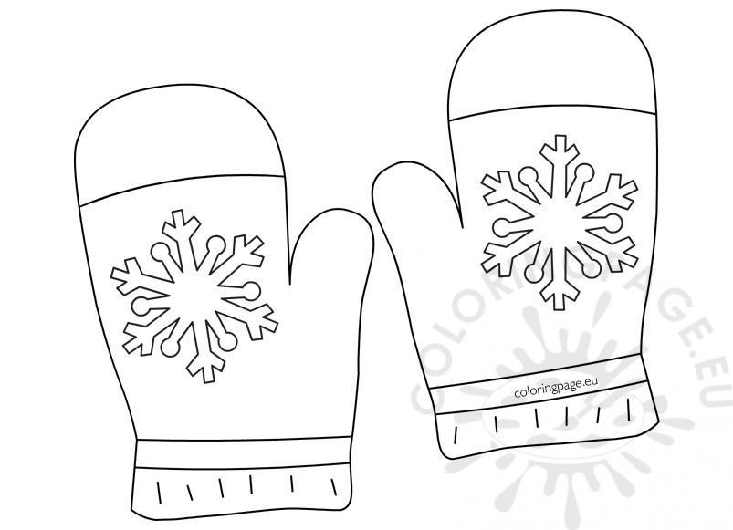 Winter Clothing Coloring Page Gloves