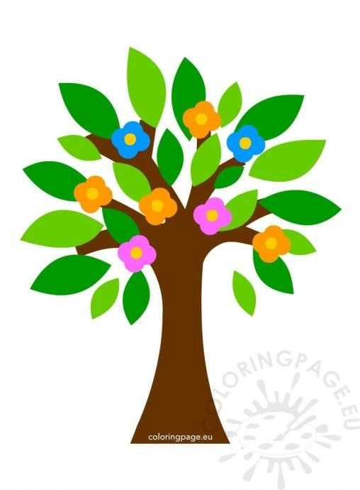 Abstract Tree Coloring Pages : Spring coloring page