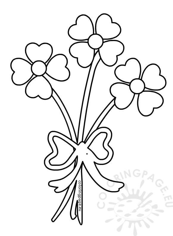 Valentine's Day coloring page Hearts Flower Bouquet