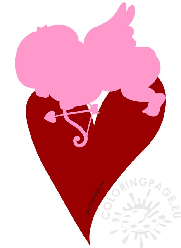 Cupid sleeping on heart clipart