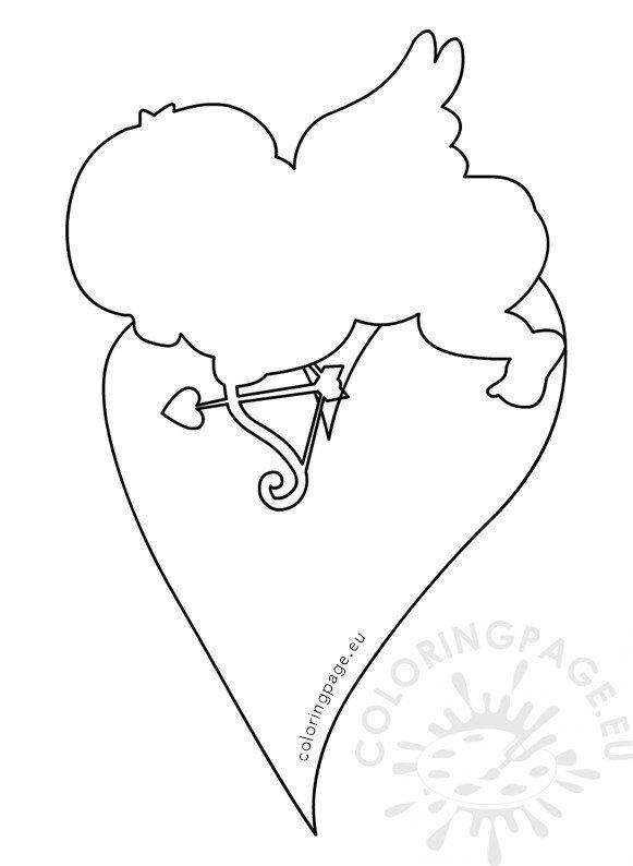cupid sleeping on heart template  u2013 coloring page