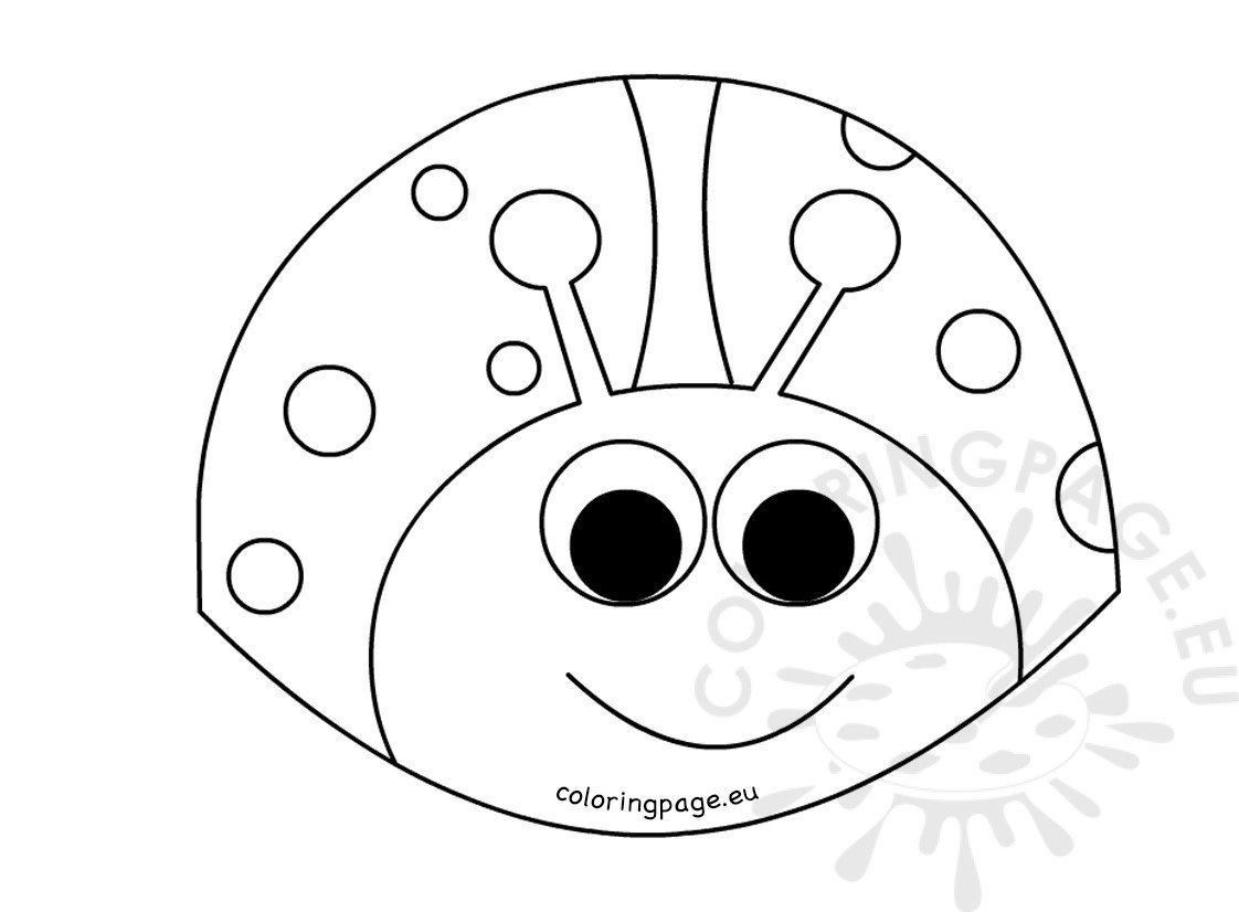 Happy ladybug smiling coloring page black and white