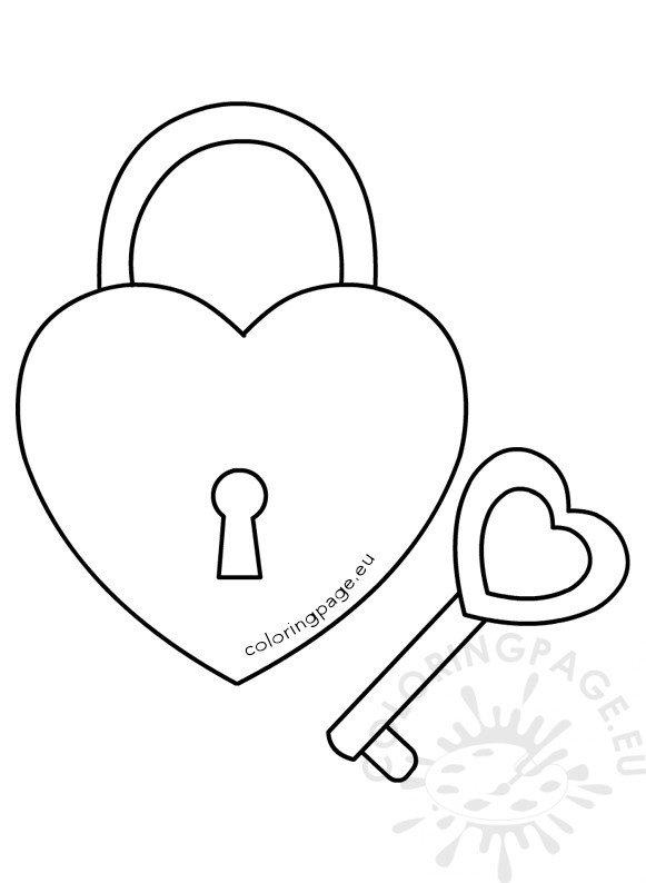 Heart shaped padlock and key