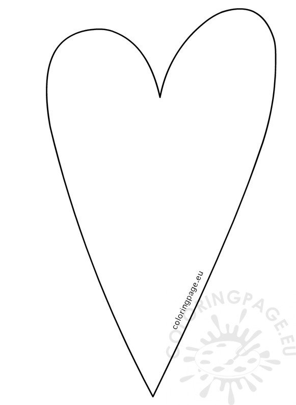 Country Long Heart Template  Coloring Page