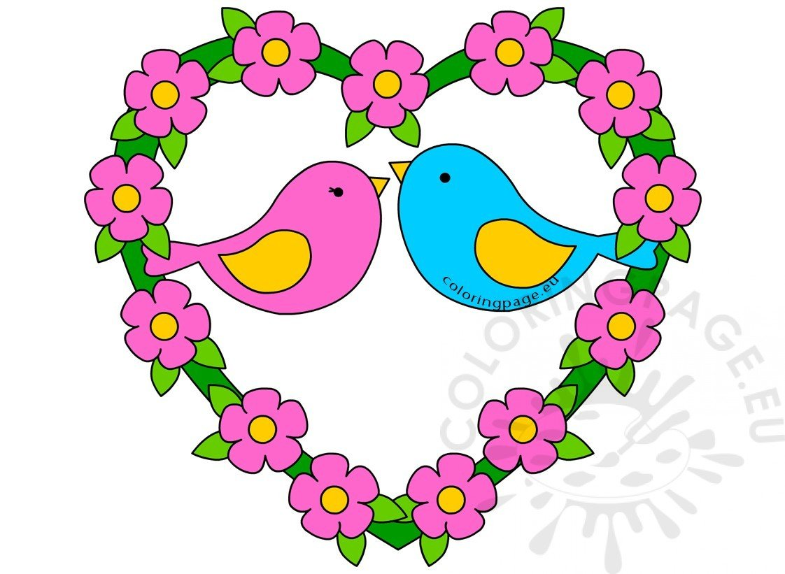 Valentines love birds with floral heart clipart