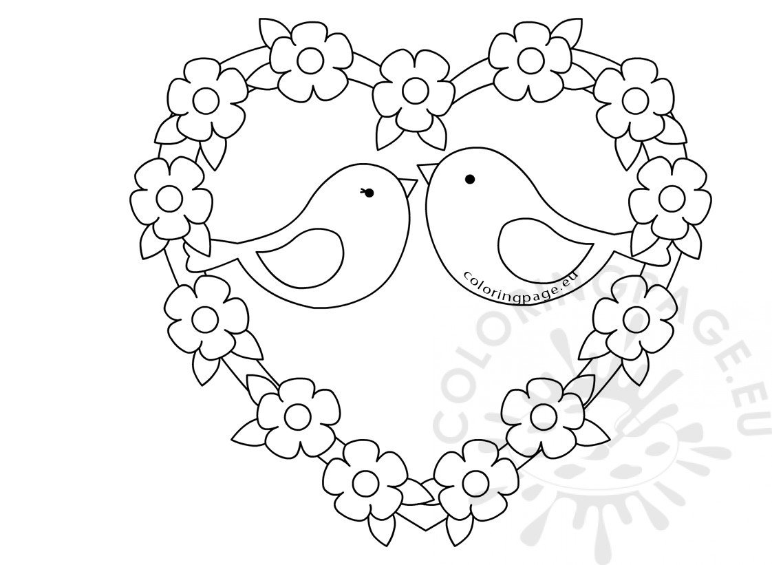 Two birds sketch with love heart Coloring Page