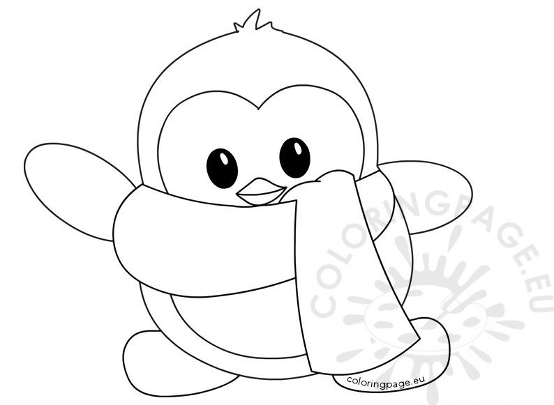 Little Cute winter penguin Coloring Page