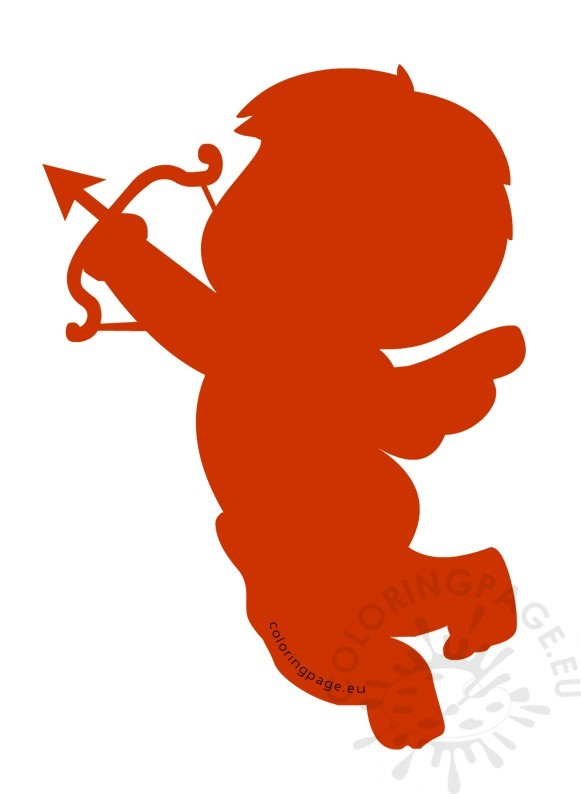 Red Silhouette Cupid with Bow and Arrow