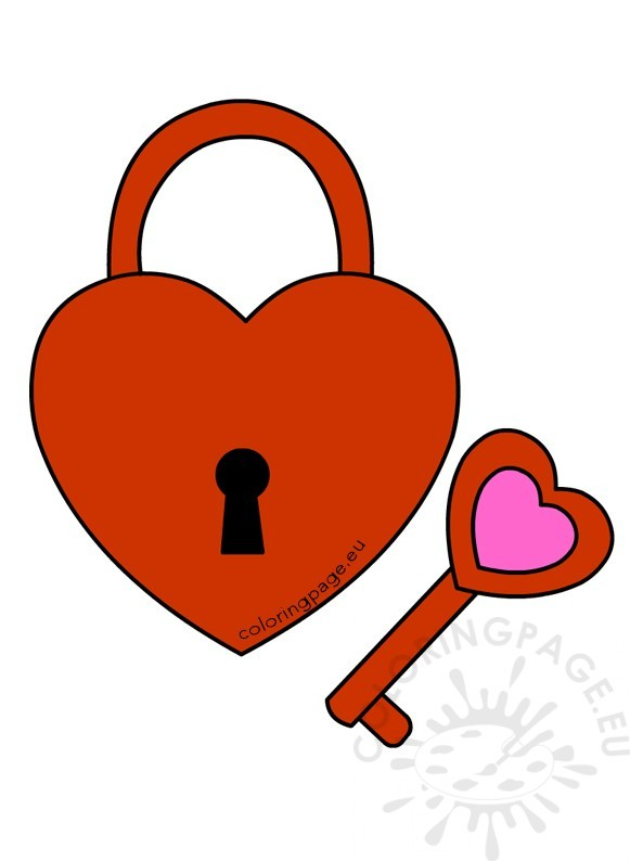 Red Heart Shaped Padlock With Key