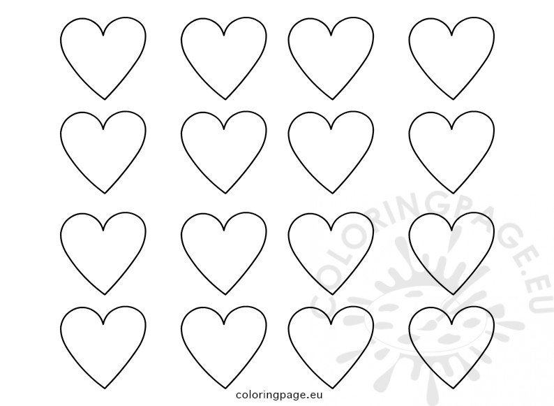 Set printable heart templates coloring page for Small heart template to print