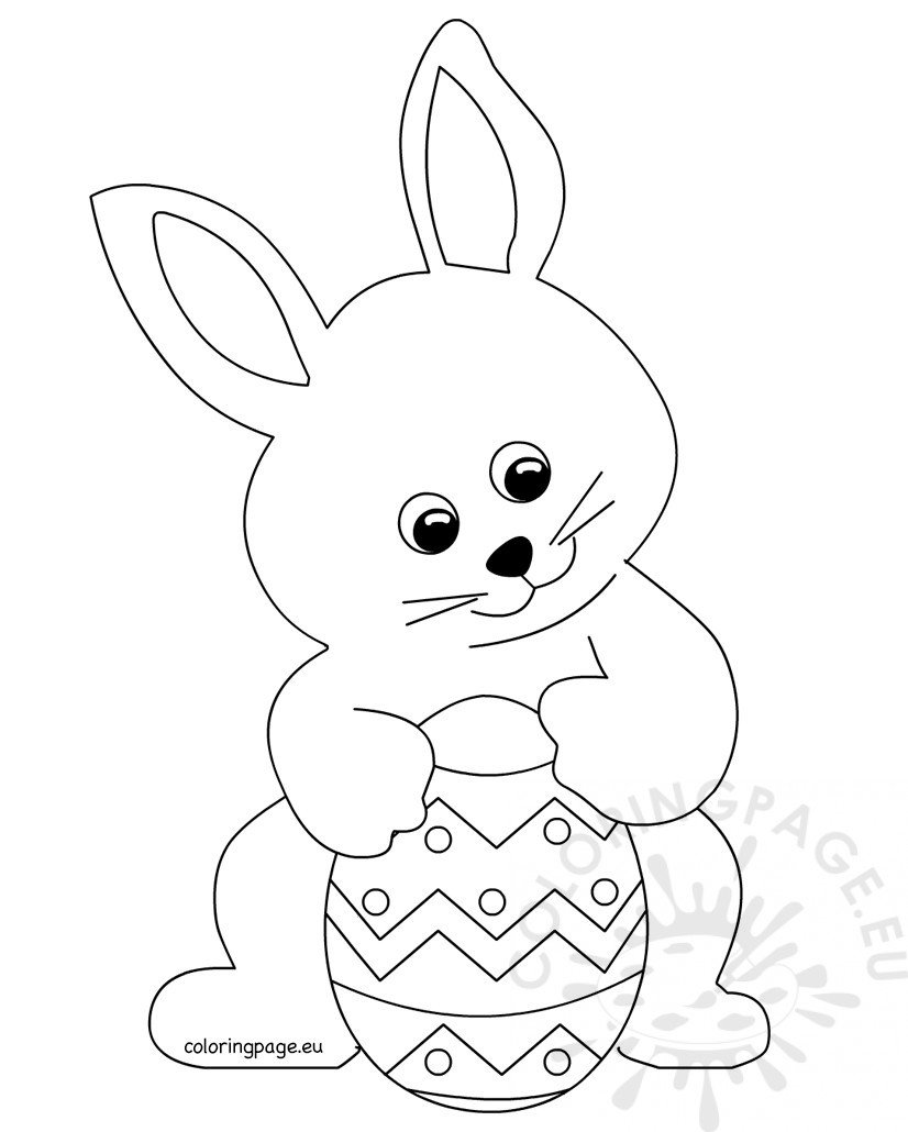 cute bunny holding easter egg coloring page