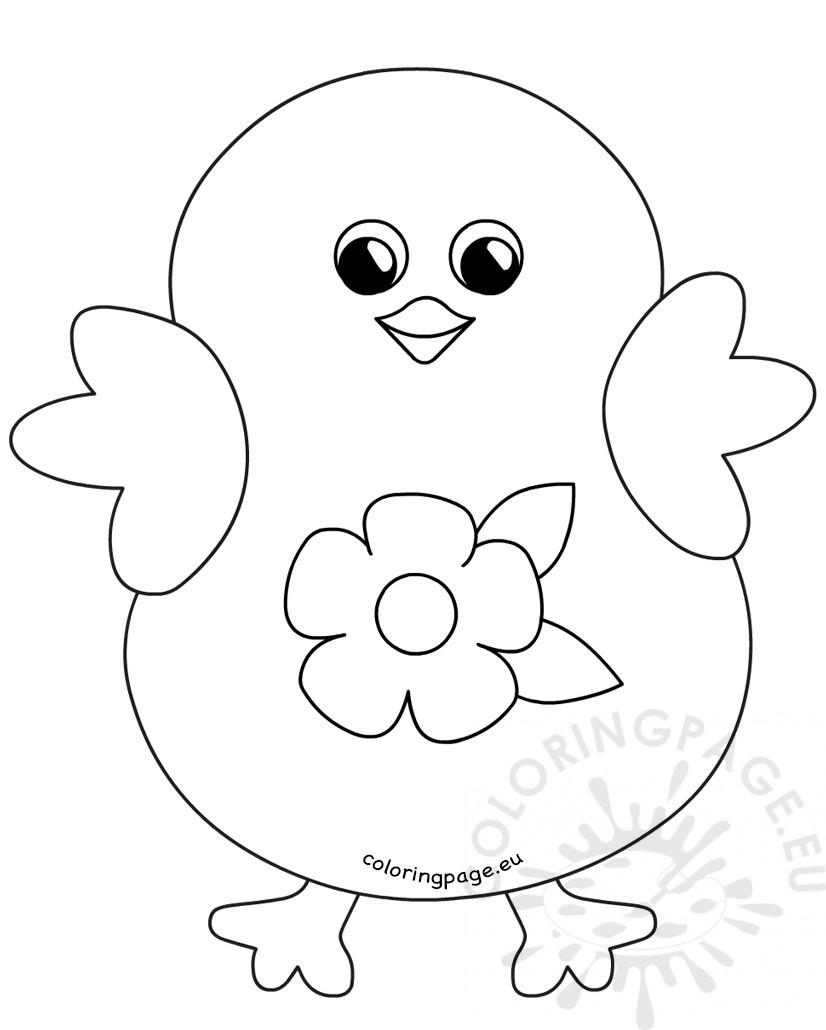 Coloring Happy Easter Chick Flower Cartoon