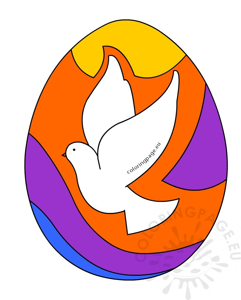 colored easter egg with dove of peace  u2013 coloring page
