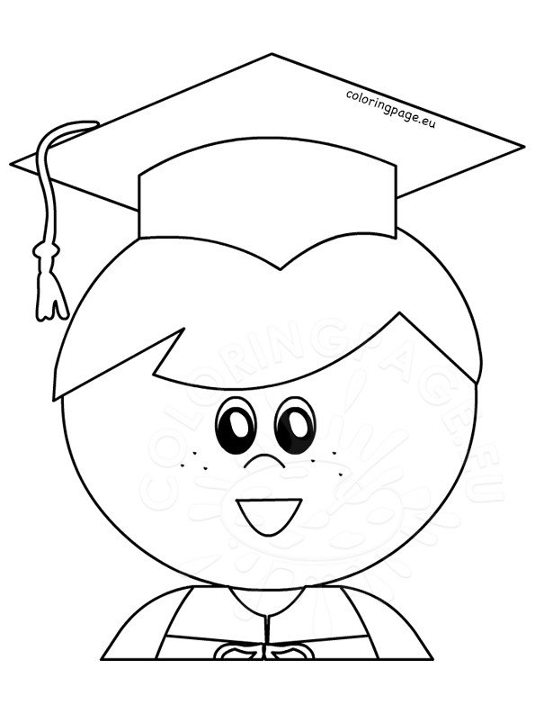 Little boy graduate graduation printable Coloring Page