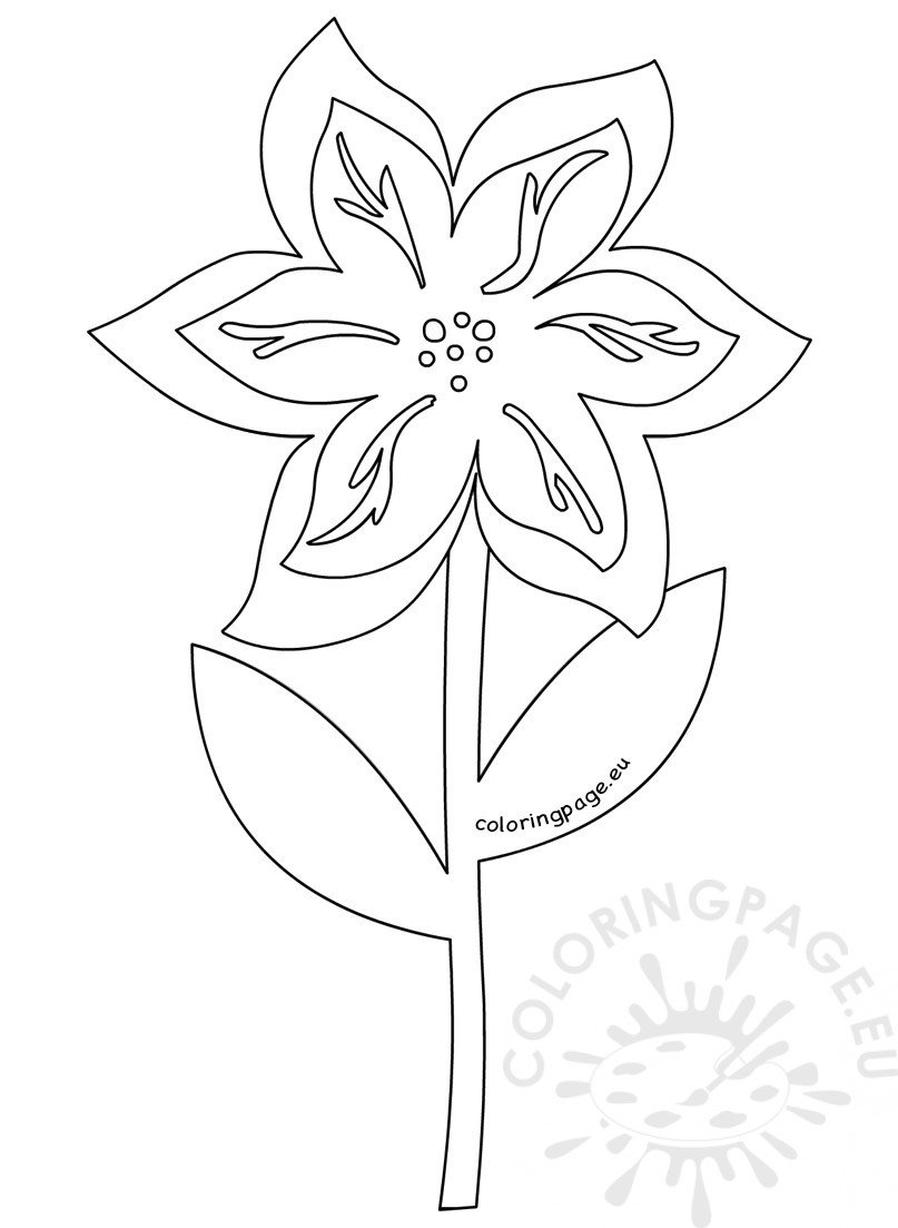 6 petal flower with leaves coloring page