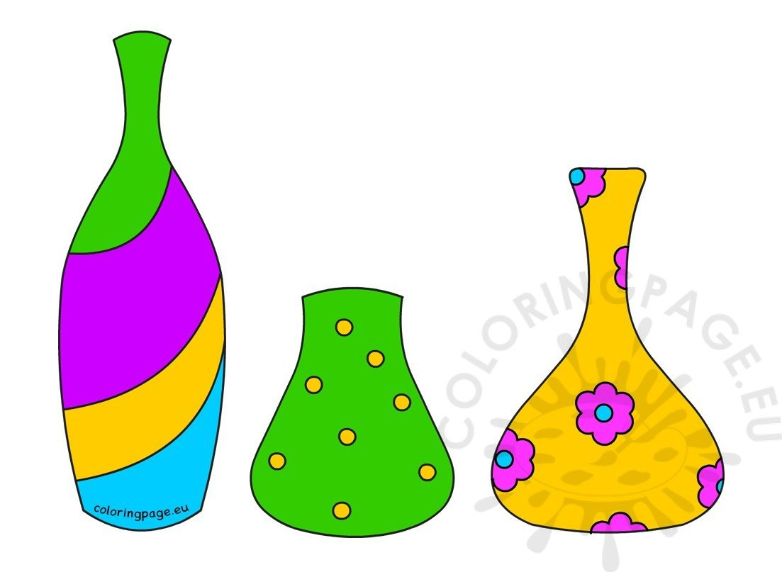 colored different shape flower pot