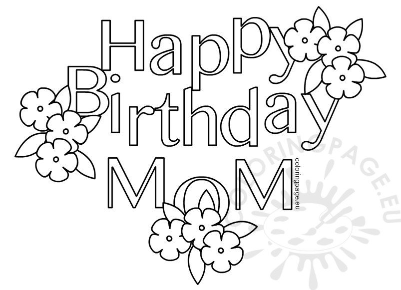 Happy Birthday Mom Heart - Coloring Page