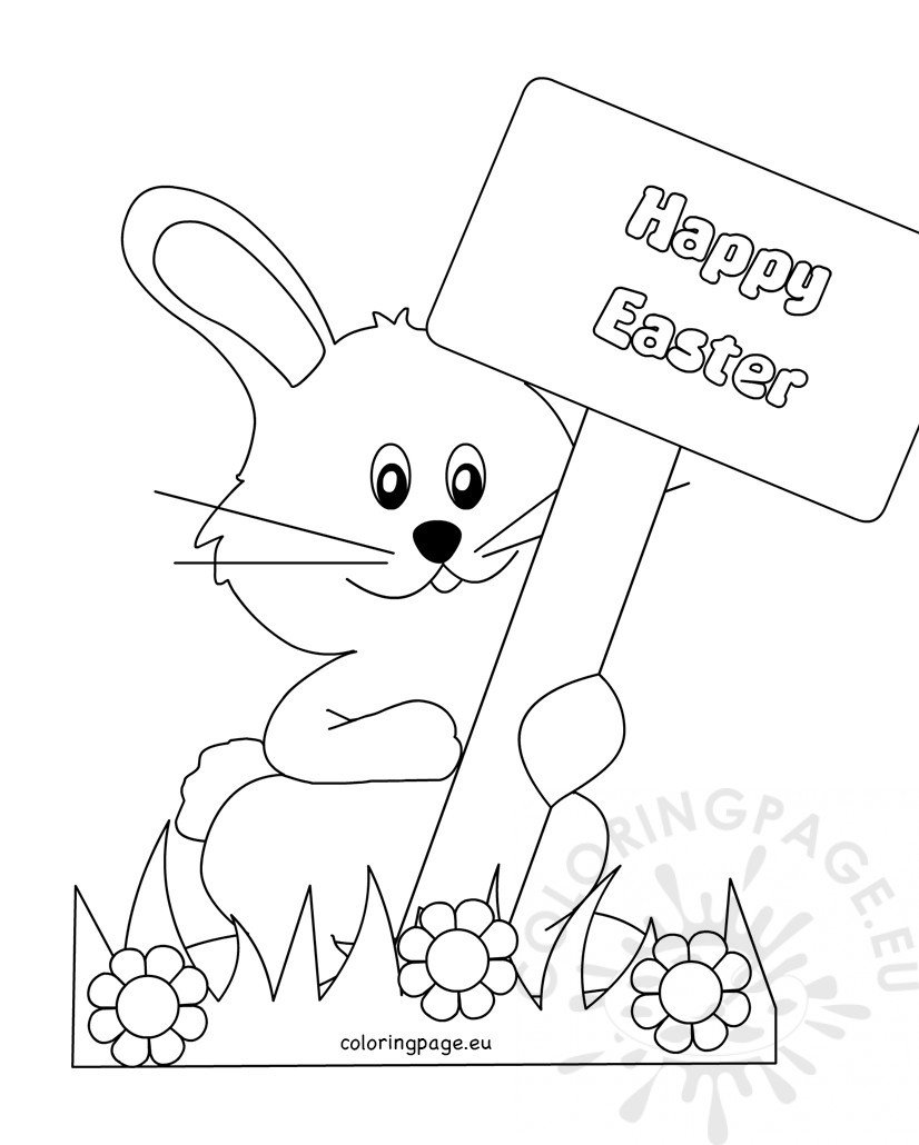 printable happy easter bunny with sign coloring page