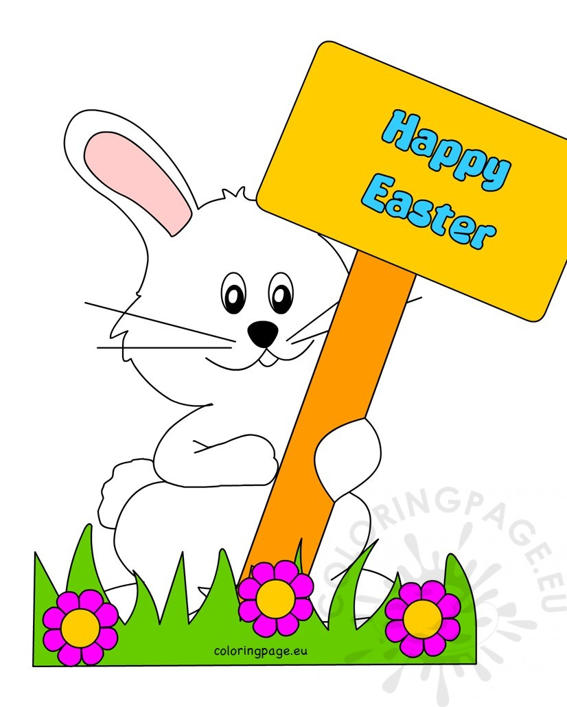 Happy Easter Bunny with Sign