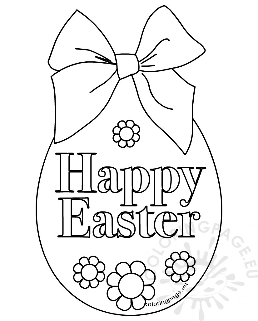 happy easter egg free printable coloring page