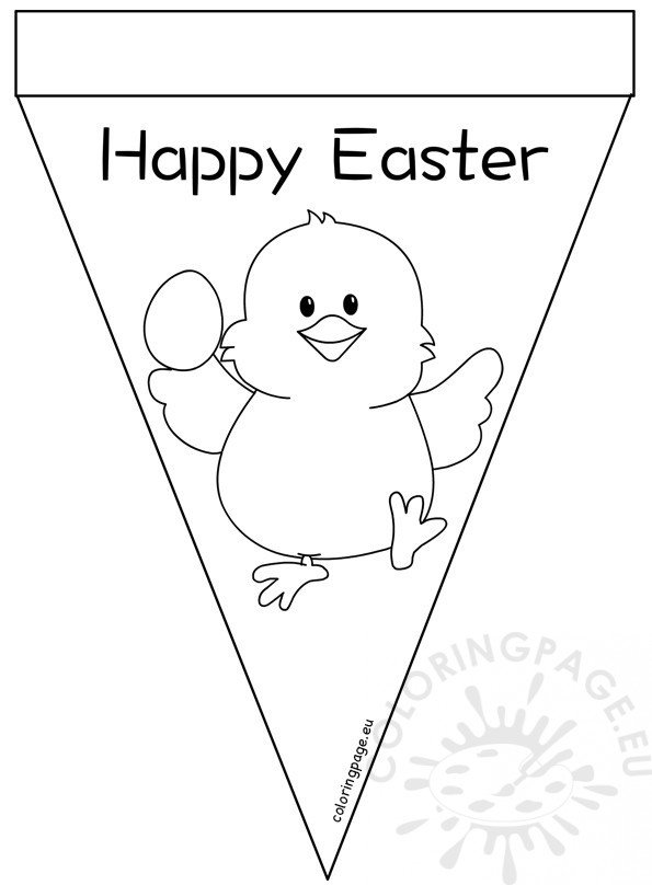 photo about Easter Banner Printable referred to as Printable Satisfied Easter Pennant Banner Coloring Site