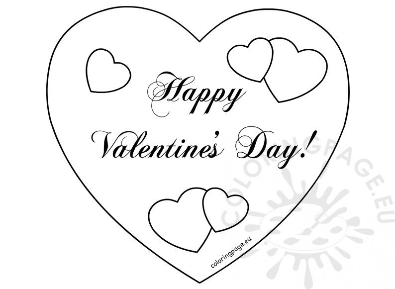 Happy Valentine S Day Hearts Card Coloring Page Happy Valentines Day Coloring Pages