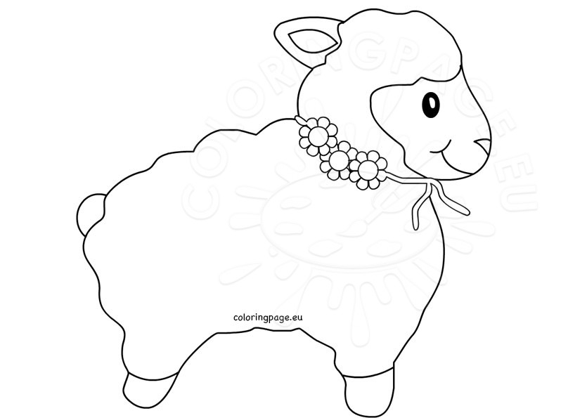 Lamb outline sheep clip art coloring page for Lamb template to print
