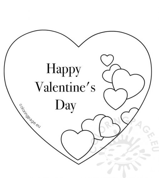It is an image of Candid Happy Valentines Day Heart Coloring Page