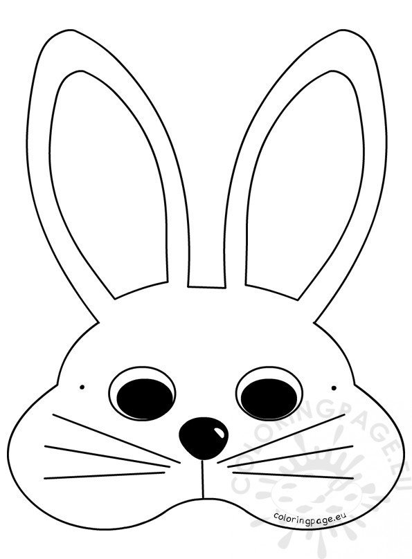 White Easter Bunny Mask Craft Ideas Coloring Page