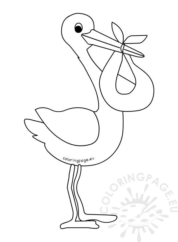 stork with baby coloring pages - photo#8