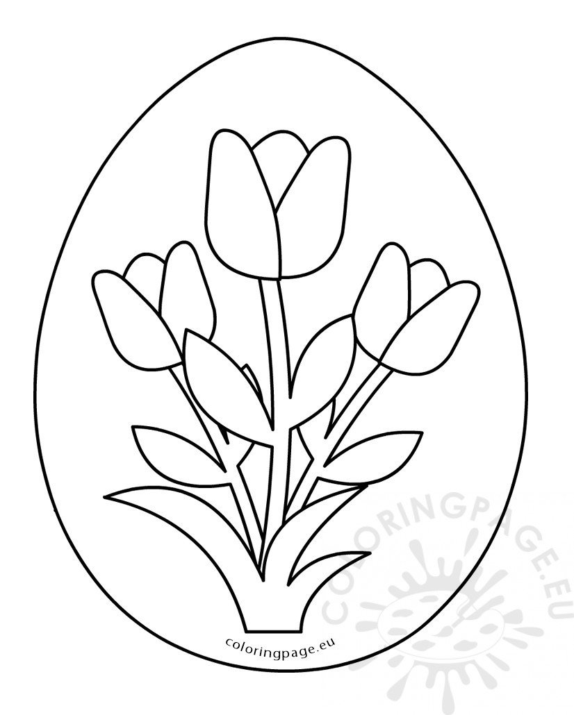printable easter egg flowers decoration coloring page