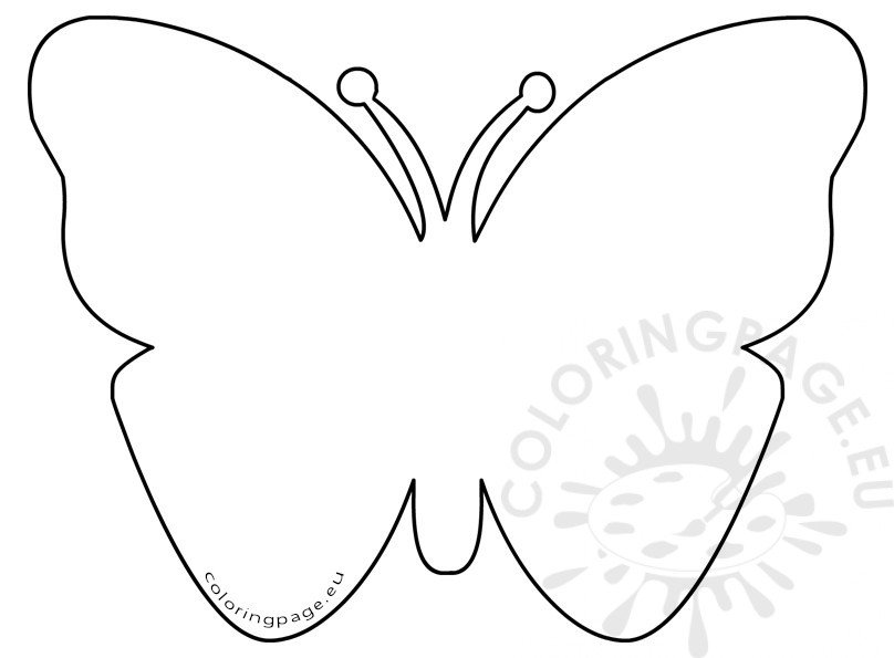 Simple felt butterfly pattern coloring page for Butterfly template free