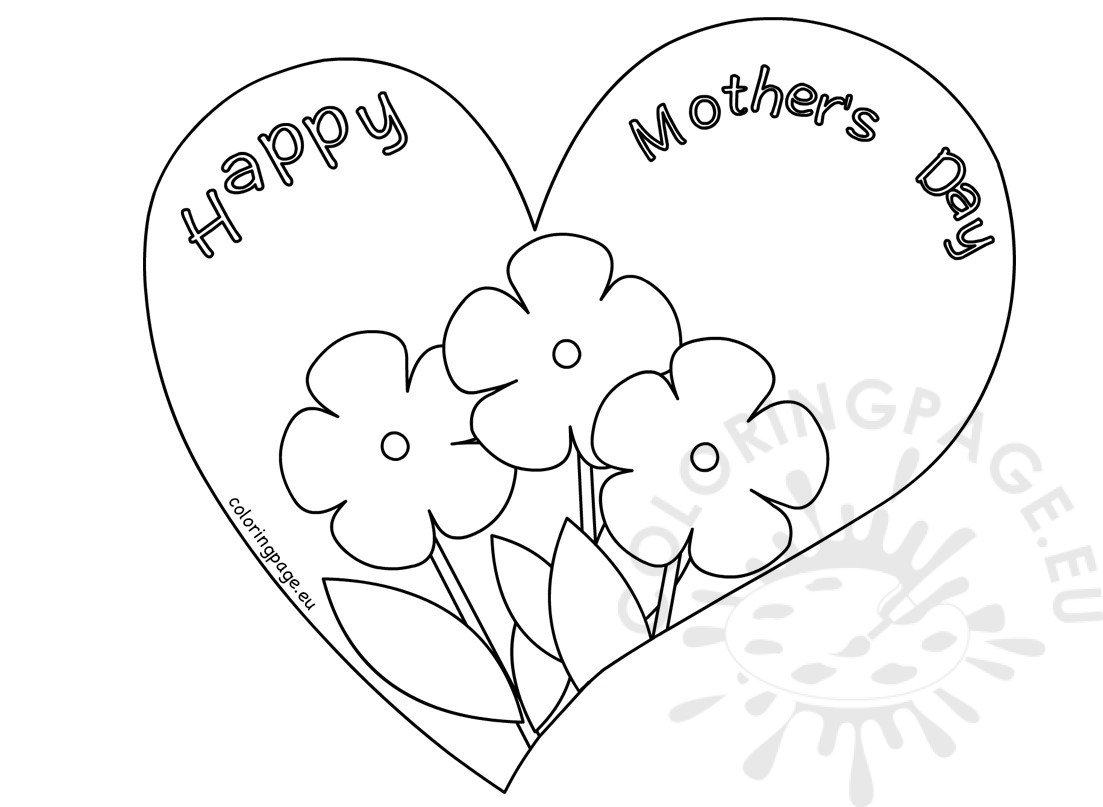 Flower heart mother's day card