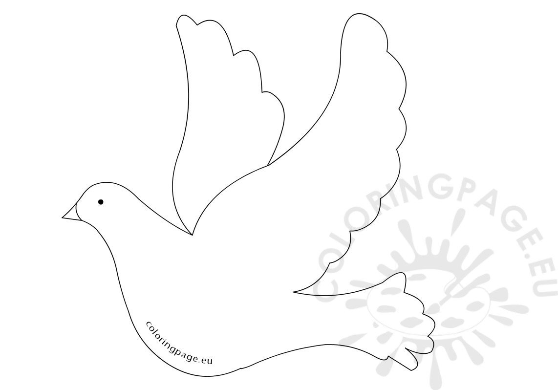 flying dove bird shape coloring page