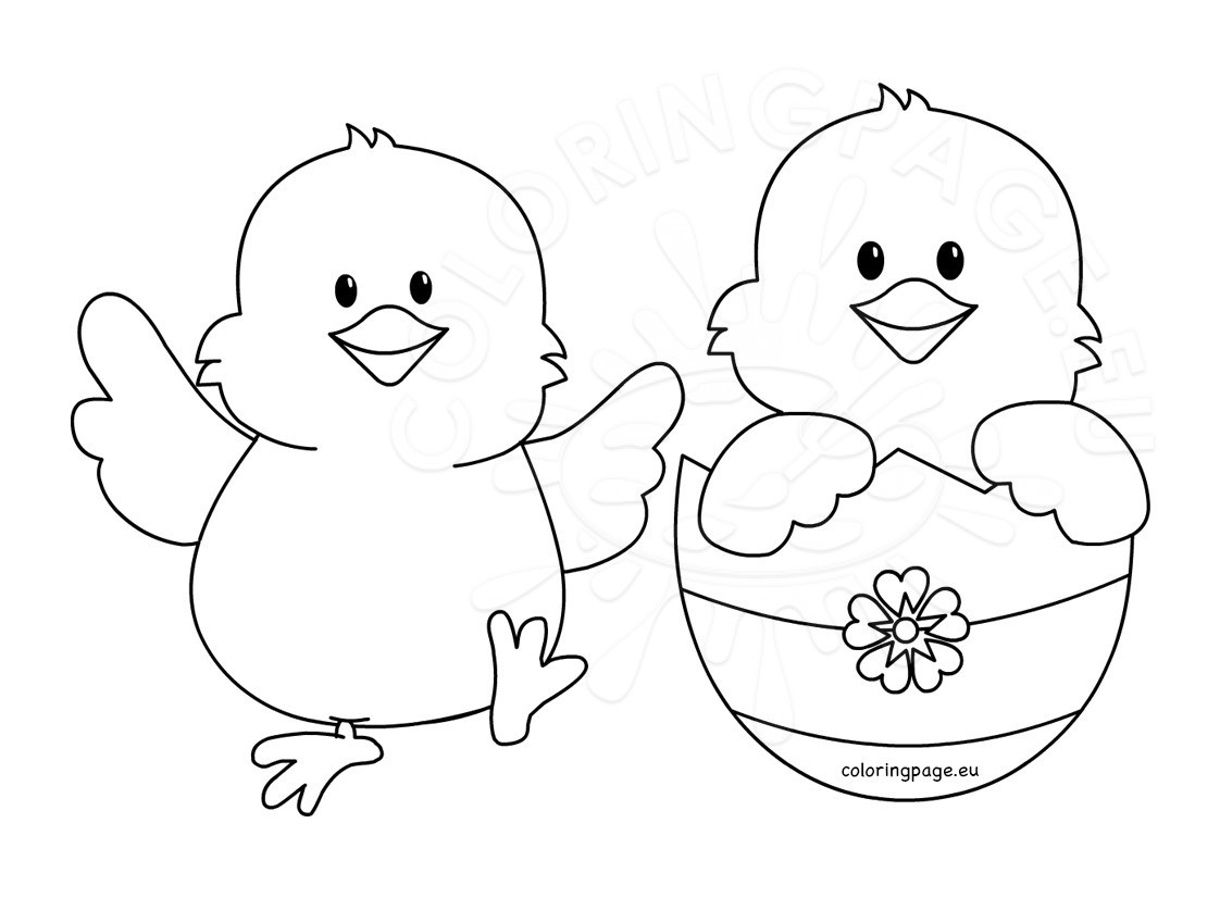 Happy Easter Chicks cartoon - Coloring Page
